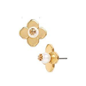 TORY BURCH • Babylon Pearl Earrings • Gold